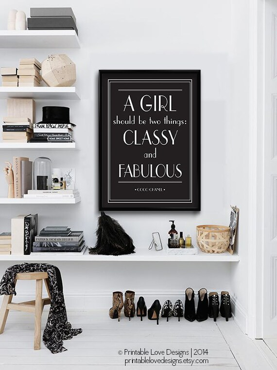 classy and fabulous typography print coco chanel by blackandtype. Black Bedroom Furniture Sets. Home Design Ideas