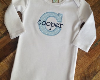 Infant gown with initial applique and name