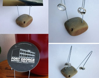 Multipurpose Oregon Coast Beach Stone Coaster Holder, Wire Photo Holder, Ring Jewelry Display, Business Card Holder