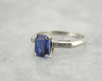 Beautiful White Gold, Sapphire with Diamonds Ring 9FLKWH-P