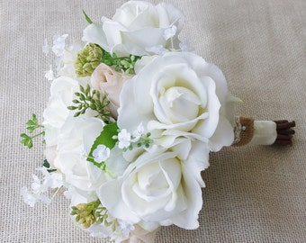 Rustic Silk Wedding Bouquet with Champagne and Ivory Roses - Natural Touch Silk Flower Bride Bouquet - Almost Fresh