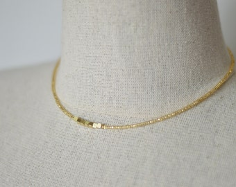 Gold color nugget necklace,nugget beads necklace,minimalist necklace,delicate short necklace,dainty necklace,beaded necklace,bridesmaid gift