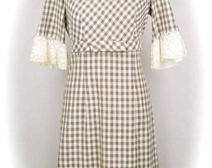 Vintage 1960s brown plaid cotton dress