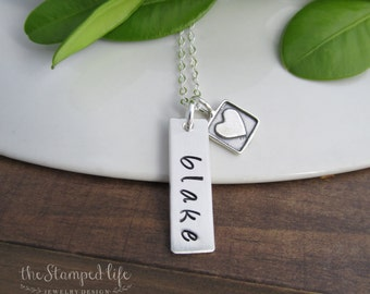 Sterling Silver Hand Stamped Name Necklace With Heart Charm, Mother, Mom, Personalized