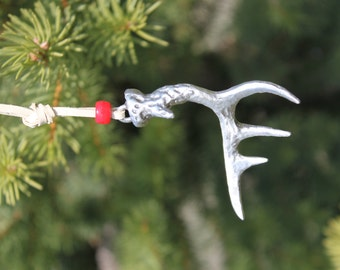 Lead-Free Pewter White Tail Deer Antler Deer Horn Ornament Made in Michigan free shipping Christmas Gift