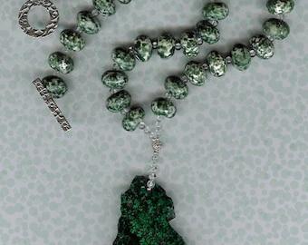 Left Coast - Malachite Pendant, Tree Agate, Rock Quartz, Sterling Silver Necklace