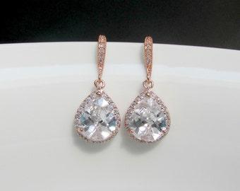 zirconia rose gold earrings , crystal rose gold earrings ,cz rose gold earrings , bridesmaids rose gold jewelry , rose gold jewelry , bridal