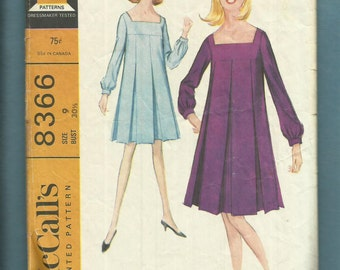 Vintage 1966 McCalls 8366 Mid 60's Dress with Long Inverted Pleats on a Wide Square Neckline Sizes 9 Junior