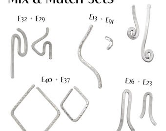 Assymetric Earrings, Silver Assymetrical Post Earrings, Choose to create the pair you like