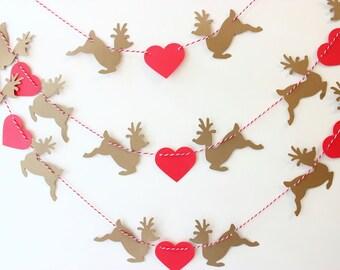 Reindeer Garland, Christmas Decor, Heart Garland, Holiday Decoration, Mantle Garland, Christmas Banner, Rustic Handmade Country Christmas
