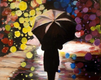 night lights umbrella rain woman reflections street fine art print
