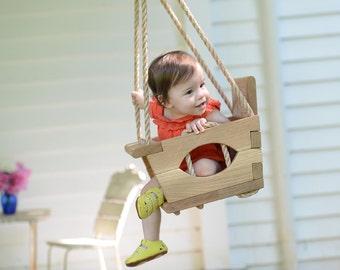 Handmade Wood Toddler Swing