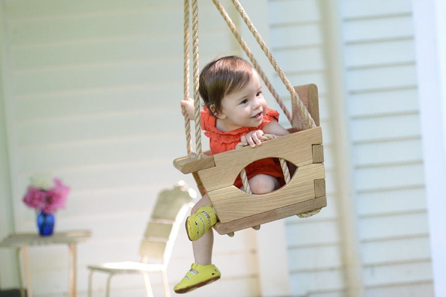 Handmade wood toddler swing for Unique swings for kids