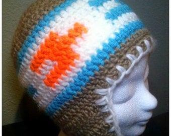 crochet hat with ear flaps [jarjar, adult size]