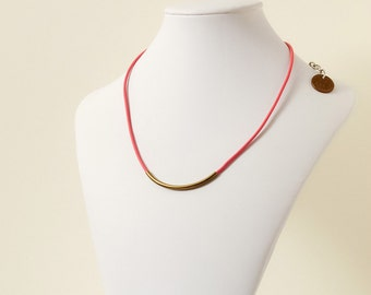 Bright Pink Leather Necklace with Curved Brass Tube