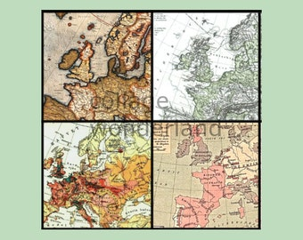 Vintage Europe Map Digital Collage Sheet - 1 in by 1 in squares - 35 individual images, no repeats - Instant download