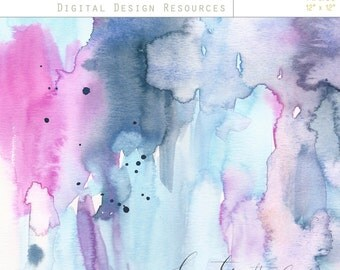 """Watercolour Art Background Papers - Design Resource - 12""""x12"""" printable, commercial use"""