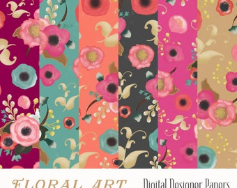 "Digital Patterned Papers - Floral Art Papers 12""x12"" printable, commercial use"