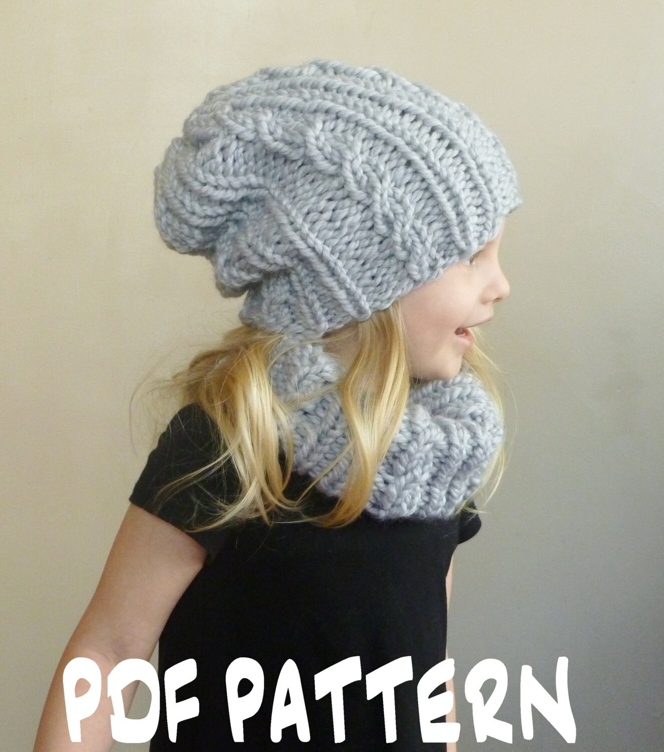 Knitting Pattern For Scarf And Beanie : Knitting PATTERN Baby Cabled Hat Cowl Set Toddler Slouchy