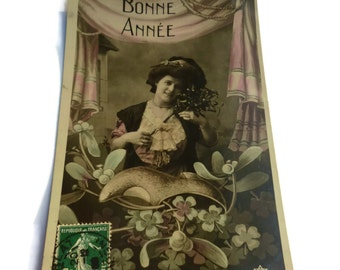 French Vintage Postcard . Bonne Année . Vintage French Postcard . Woman Postcard . Vintage Postcards