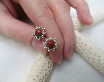 Red Jasper Earrings, Red Gemstone, Red Jasper Posts, Red Jasper Studs, Silver Flower Star Sun Earrings, Silver Posts, Sterling Silver Stud