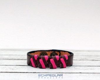 BROWN pink LEATHER BRACELET