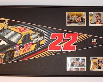 Vintage NASCAR driver #22, Ward Burton pennant & cards...Custom Framed!