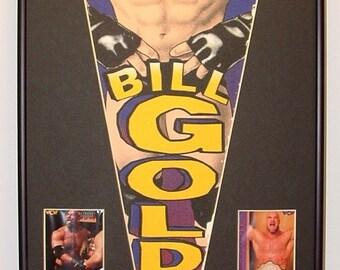 Vintage Bill Goldberg WCW/WWF/WWE Wrestling Pennant & Cards...Custom Framed!!!!