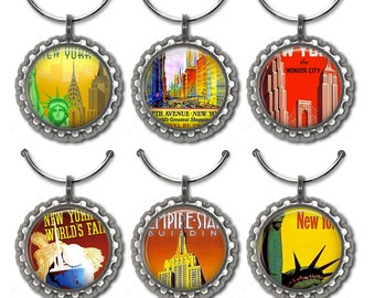 New York City wine charms New York wedding favors vintage travel party favor Statue of Liberty Empire State Building.