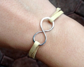 Sterling silver infinity on leather bracelet
