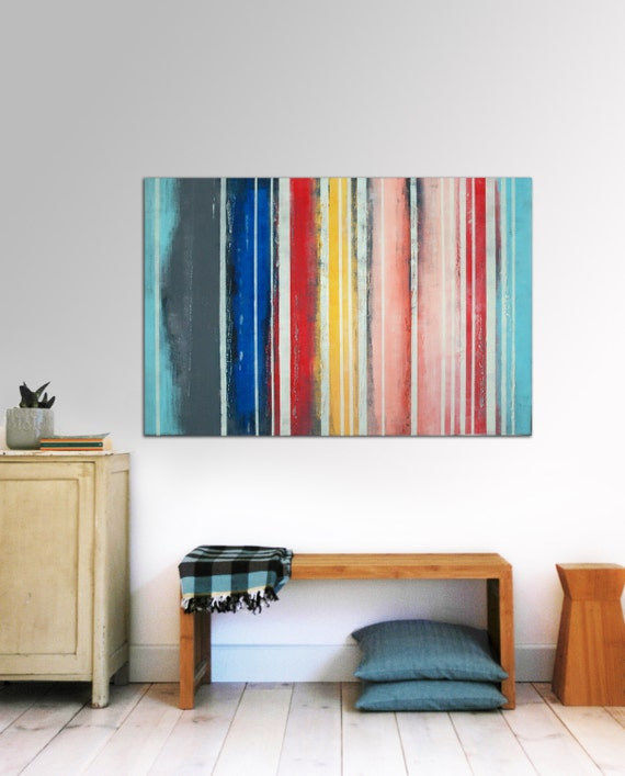 "Large Abstract Schilderij - Striped colors - Acrylic painting - 29,5"" x 45,3"" - Free Worldwide Shipping"