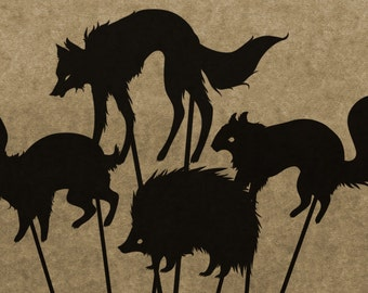 DIY Forest-Themed Shadow Puppet Pattern Collection (DOWNLOAD)