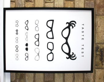 50 x 70 poster, spectacles print, hand pulled screen print of a collection of glasses in the style of an eye test