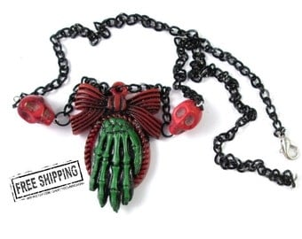 Psychobilly Skeleton Hand Necklace -  zombie hand - zombie necklace - horror jewelry - skeleton cameo creepy cute zombie necklace deathrock
