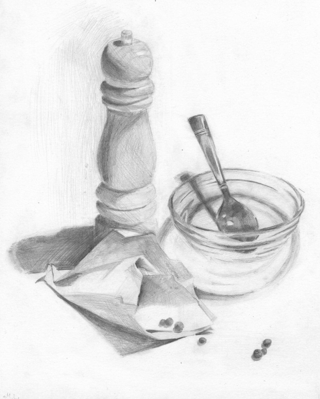 still life drawing pepper grinder pepper bowl by madareli. Black Bedroom Furniture Sets. Home Design Ideas
