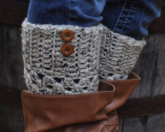 Crochet Boot Cuffs - Oatmeal with Buttons - Knit Leg Warmer Socks