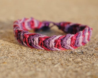 Mixed Berries - Purple, Lavendar, and Burgundy Fishbone Hemp Bracelet