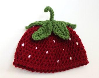 Strawberry Beanie Hat - Strawberry Baby Beanie, Crochet Baby Hat