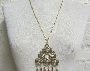 60s Long Pendant Statement Necklace with Ethnic Boho Design Gold Diamond Shapes