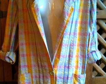 "Early 80's on trend VINTAGE Miss U Clothing ""Boyfriend"" oversize Jacket blazer. 100% cotton summer colour check pattern. Size L Xl Uk 14 16"