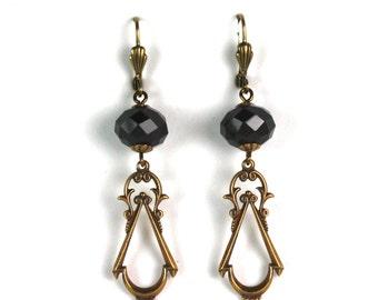 Victorian Earrings Black Czech Crystal & Brass