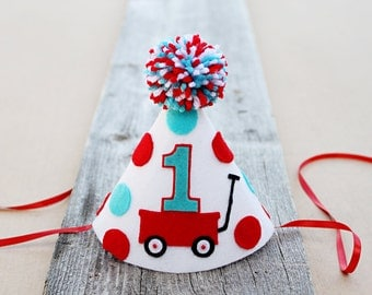 Boys 1st Birthday Red Wagon Party Hat - Boys First Birthday Party Hat