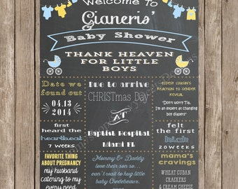 Clothesline and Baby Carriages Baby Shower Sign Printable - Clothesline Baby Shower - Baby Carriage Shower - Mommy-to-be Chalkboard Poster