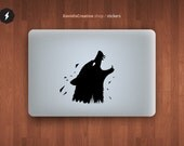 """Wolf macbook pro and air stickers decal for 13,15,17"""" in two position"""