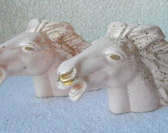 Vintage 1950s pink and gold splatter paint horse head planter set