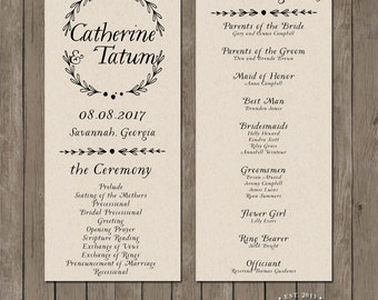 Printable Wedding Program - the Tinsley Collection