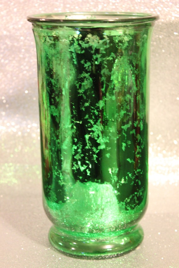 Set green mercury glass hurricane vase tinted by