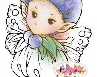 Digital Stamp - Whimsical Blueberry Sprite - Instant Download - digistamp - Fantasy Line Art for Cards & Crafts by Mitzi Sato-Wiuff
