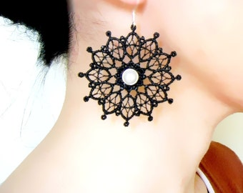SALE black white lace earrings - pearl beaded earrings - gothic vintage art deco boho chic