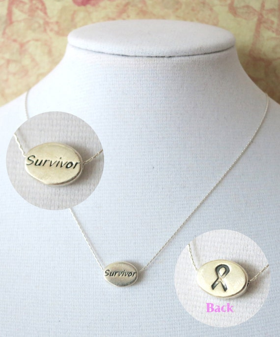 Devoted to Cancer Survivor Necklace - Sterling Silver Necklace, Cancer Awareness Jewelry, Be strong Gift, Cancer ribbone necklace